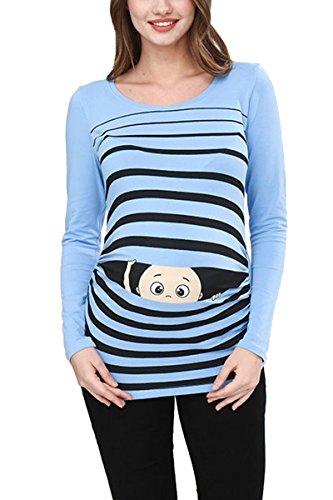 Ropa premamá Divertida y Adorable, Camiseta con Estampado, Regalo Durante el Embarazo - Manga Larga (Azul Celeste, X-Large)