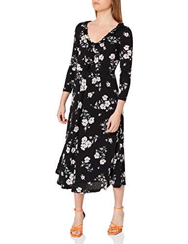 Springfield Vestido Midi Escote Volante, Negro, XS para Mujer