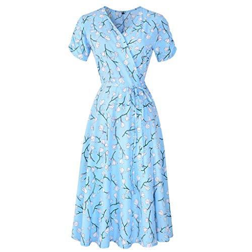 VEMOW Vestido mujer fiesta con estampado floral festivo con cuello en V para mujer Vestido de fiesta de manga corta(Azul,XL)