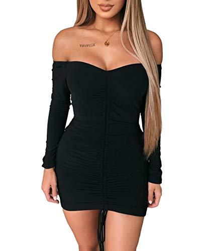 Amabilemia - Vestido elegante para mujer - Vestido corto, sexy, adherente - Color negro - Vestido de mangas largas - Ideal para la noche, para una fiesta - Modelo n. AM397 Negro M