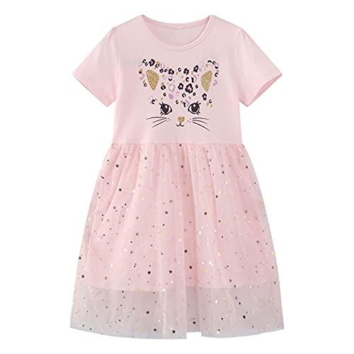 FILOWA Vestidos para Niña Rosa Lentejuelas Bordado Gato Estampados Algodon Tul Verano Manga Corta Princesa Modernos Elegantes Casual Vestido Chica 3-4 Años, 4T