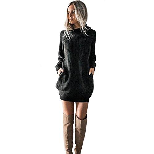 SHOBDW mujer de Punto Vestido de Cuello de Rollo de Vestido de Puente Damas Mini tamaño (Negro, M)