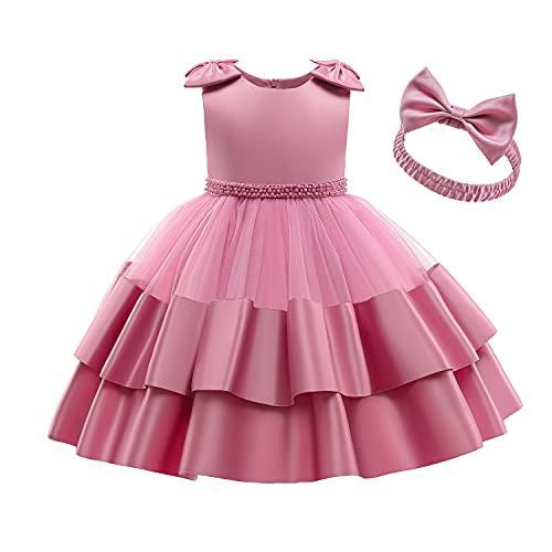 NNJXD Vestido de Cumpleaños para Niñas Bebés Arco Desfile Bautizo Vestido de Bola Tamaño (90) 12-24 Meses 739 Rosa-A