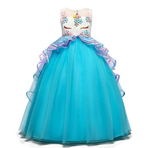 TTYAOVO Vestido Elegante de Fiesta Ceremonia para Niñas Vestido Formal de Niña Bautizo Princesa Boda Vestido de Cumpleaños Tamaño(120) 4-5 Años 07 Azul