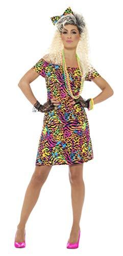 Smiffy'S 45952L Disfraz De Fiesta Años 80 Con Vestido Y Lazo Para El Pelo, Neón, L - Eu Tamaño 44-46