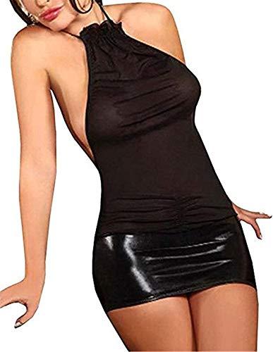 SxyBox Lencería Mujer Ropa Interior elástica Mini Vestido sin Mangas Club Desgaste Transparentes Teddy…