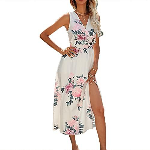 Primavera Y Verano, Cobertura Informal para Mujer, Sexy, con Cuello En V Cruzado, Estampado De Flores Grandes, Vestido Dividido, Falda Larga para Mujer