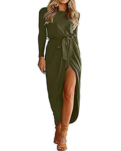 YOINS - Vestido de mujer para playa, vestido de verano, vestido de punto para mujer, vestido largo de noche, vestido de Navidad, cuello redondo con cinturón Manga larga. XXL