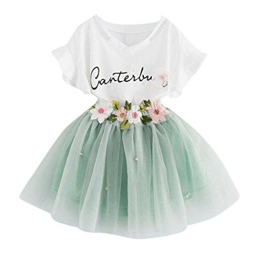 K-youth Vestido de niña Vestido Niña Floral Tutú Princesa Vestidos Vestido para Bebés Ropa niña Camisa y Vestido Muchacha Encantadora Ropa Bebe niña Verano 2018 Barata (Verde, 3-4 años)