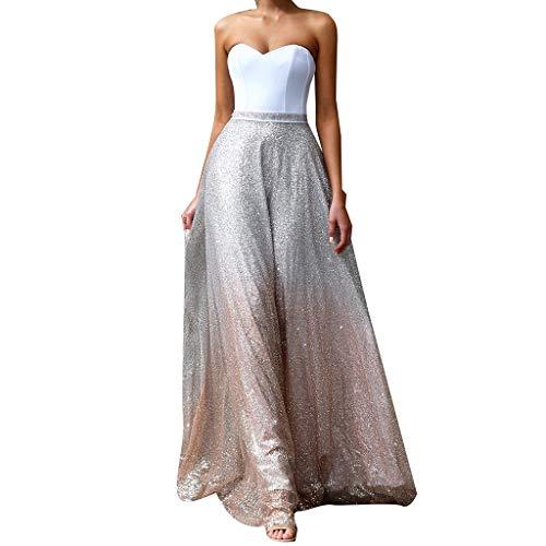 YWLINK Mujeres Vestido Elegante del Partido Moda Sin Mangas Sin Tirantes Atractivo Blanco Vestido De Fiesta De Coctel Slim Fit Lentejuelas Vestido De Novia Falda(Blanco,XL)