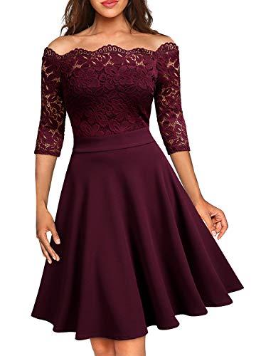 Miusol Elegante Floral Encaje Slim Fiesta Vestido para Mujer Rojo Small
