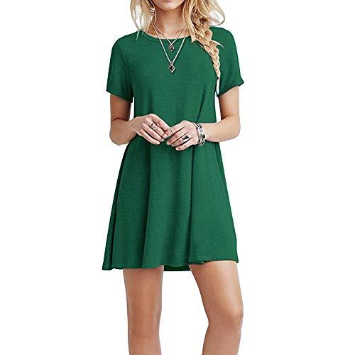FARCHAT Vestidos Mujer Suelto Casual de la Camiseta Cuello Redondo Vestido Ejercito Verde M