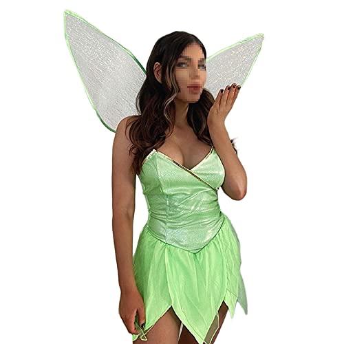 Dazzerake 2 Piezas Conjunto Mujer Vestido de Hada del Bosque de Halloween Vestido Corto de Tubo Sexy con Lentejuelas Color Sólido con Alas Princesa Fiesta Cumpleaños (Verde, S)