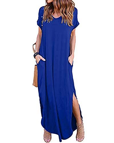 VONDA Vestidos para Mujer Verano Casual Playa Cuello en V Talla Extra Maxi Vestido Largo Bohemio con Bolsillos A-Real M