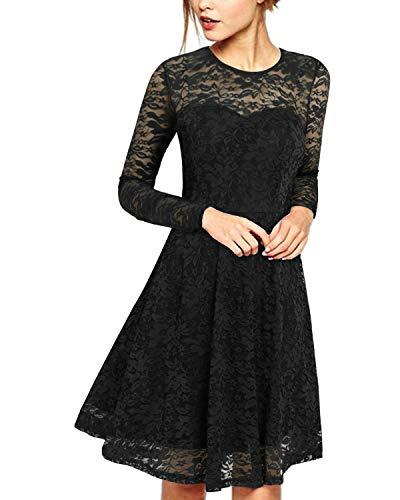 ZANZEA Vestido de Fiesta Encaje Manga Larga Mujer Tallas Grandes Vestidos Plisados Vestido de Cóctel de Noche Cortos 00-Negro+Larga S