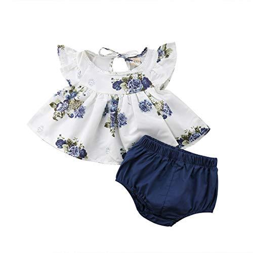 Bebé Recién Nacida 2 Piezas Conjunto de Traje Top Blusa Floral sin Manga con Volanters Vestido Camiseta Corta Pantalón Corto Ropa de Verano para Niñas Pequeñas Casual Fiesta Foto (Azul, 0-3 Meses)
