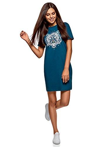oodji Ultra Mujer Vestido de Punto de Silueta Recta, Azul, ES 34 / XXS