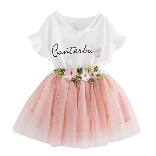 K-youth Vestido de niña Vestido Niña Floral Tutú Princesa Vestidos Vestido para Bebés Ropa niña Camisa y Vestido Muchacha Encantadora Ropa Bebe niña Verano 2018 Barata (Rosa, 6-7 años)