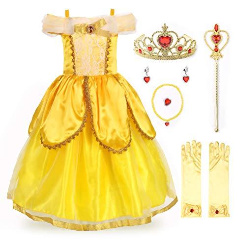 JerrisApparel Niña Princesa Belle Disfraz Tul Fiesta Trajes Vestido (4 años, Amarillo 2 con Accesorios)