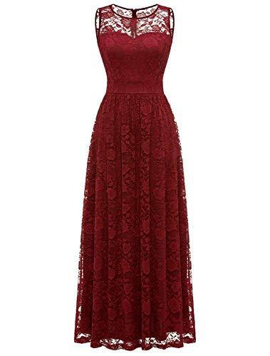 Wedtrend Encaje Vestido Largo de Dama de Honor para Mujer Vestido Boda Fiesta EWTL10007DarkRedM