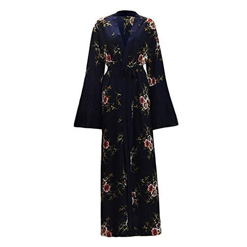 ZAJ para Vestido Árabe Mujer Arabe Saudita Abaya Kimono Cardigan Hijab Muslim Dress Ropa Islámica Vestido musulmán 1pcs (Color : Blue Cardigan, tamaño : Small)