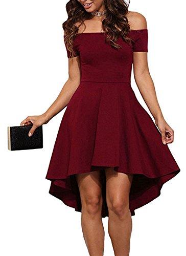 Tomwell Mujer Elegante Retro Vestidos Dobladillo Irregular Sin Tirantes Manga Corta Vestidos de Coctel Rockabilly 50s Vestido Fiesta Vino Rojo ES 36