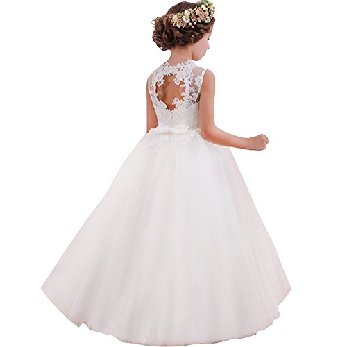 LZH Vestido de Niñas Cordón Princesa Vestidos de Novia Falda Larga para Fiesta Cosplay Disfraz 6-16 años(120-170)