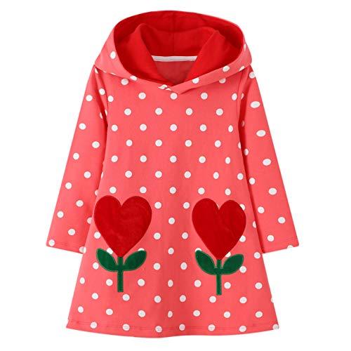 JinBei Vestidos con Capucha Niñas Largo Túnica Pullover Tops Manga Larga Algodón Suéter Casual Lunares Flores Rojo Otoño Sudadera con Capucha 3-4 años