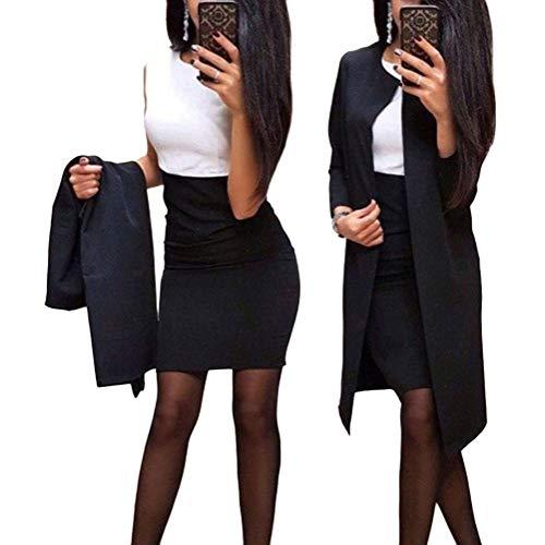 Minetom Mujer Otoño Invierno Vestido Lápiz y Abrigo Largo Conjuntos 2 Piezas Formal Fiesta Noche Cóctel Oficina Negocio Dress B Negro 44