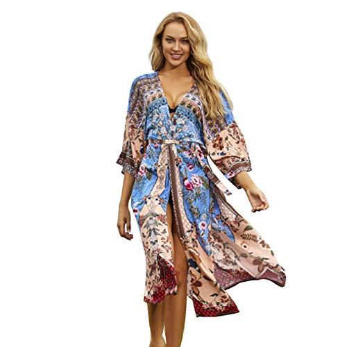 Mujer Vestido de Playa Bohemio Cárdigans de Playa Largo Floral Impresión Pareos Kimonos