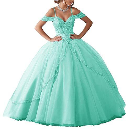 JAEDEN Vestidos de Fiesta Largo Vestidos de Novia Mujer Princesa Vestidos de quinceañera Vestido de Noche Tul V-Cuello Turquesa EUR38