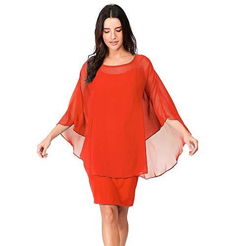 Vectry Vestidos Largos Casual Primavera Moda Mujer 2019 Rebajas Vestidos Vestidos De Verano 2019 Elegante Vestidos Mujer Casual Vestidos Coctel 2019 Vestidos (Rojo 1, XXL)