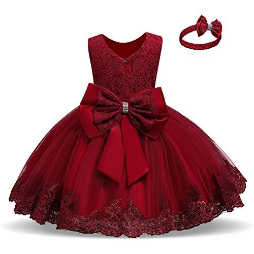 TTYAOVO Vestido de Fiesta de Encaje de Dama de Honor de la Boda de la Princesa de Las Niñas Tamaño(100) 18-24 Meses 06 Rojo