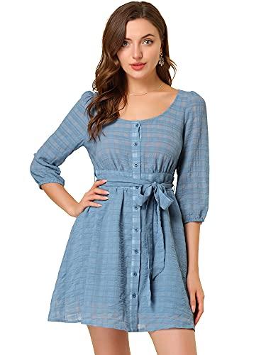 Allegra K Mangas al Codo para Mujer Cuello Redondo Cinturón con Botones Vestidos Campesinos con Textura a Cuadros Azul XS