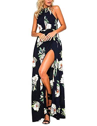 carinacoco Mujer Vestido Fiesta Largo Sin Mangas de Escotado por Detrás Maxi Vestidos Boho Chic de Noche Playa Vacaciones (XXL, Azul)