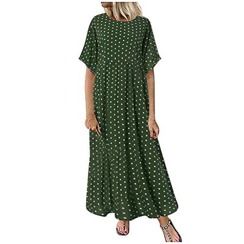 XWANG Vestido informal para mujer, largo, verano, elegante, para playa, manga corta/cuello redondo, informal, holgado, maxi vestido de verano.