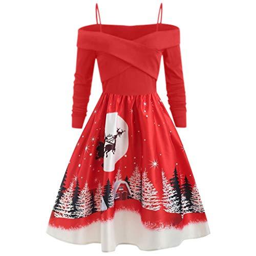 Reooly Vestido Vintage con Estampado de Alces navideños de Manga Larga con Hombros Descubiertos y Estampado de Alces navideñas (H-Rojo,XXXX-Large)