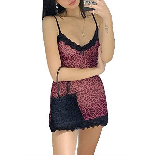Loalirando Vestido mini corto de mujer vestido de encaje elegante sin mangas estampado floral vestido ajustado sexy para niña mujer Rosa Leopardo M