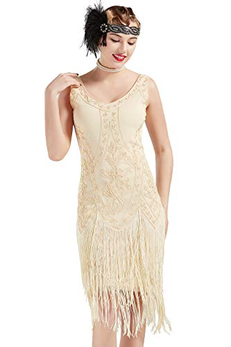 Coucoland Vestido de Noche Art Déco con Lentejuelas y Lentejuelas de los años 20 Vestido de Mujer con Aletas de los años 20 Gran Disfraz de Gatsby (Albaricoque, S)