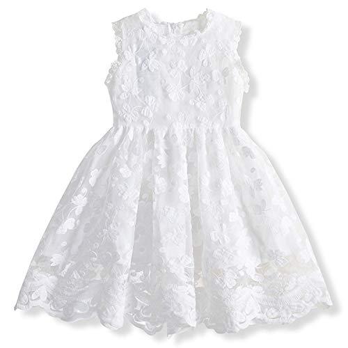 TTYAOVO Vestido de Princesa con Encaje para Niñas Vestido de Fiesta Vintage sin Mangas para Niñas de 2-3 años(Talla 100) 652 Blanco