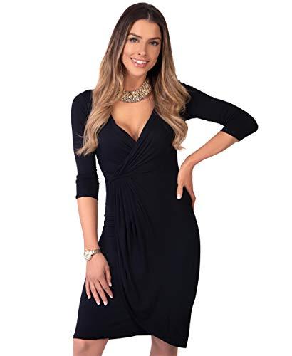 KRISP Vestido Moda Mujer Fruncido, Negro (6174), 36, 6174-BLK-08