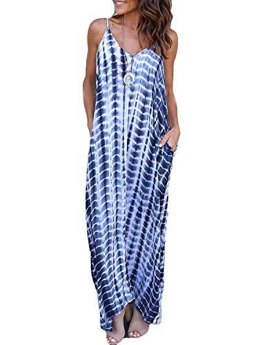 VONDA Vestido Largo para Mujeres Casual de Playa para Mujer Sexy Vestido Cuello en V Sin Mangas A-Azul Serpiente XL