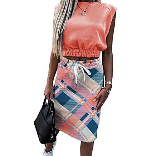 Godoboo Vestido Largo Mujer Camisetas y Faldas Mujer de Dos Piezas Faldas de Verano Vestido de Fiesta Vestido de Playa Conjunto de 2 Piezas Camiseta de Manga Corta + Falda Elegante hasta la Rodilla