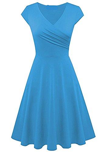 EFOFEI Vestido Midi con Cuello en V para Mujer Vestido Vintage a Media Pierna Vestido con Vuelo Azul Claro XS