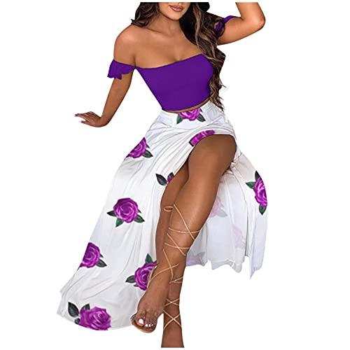 Mujer Vestido Fiesta de Dos Piezas Manga Corta Vintage Floral Impresa de CóCtel Vestidos para Coctel/Noche