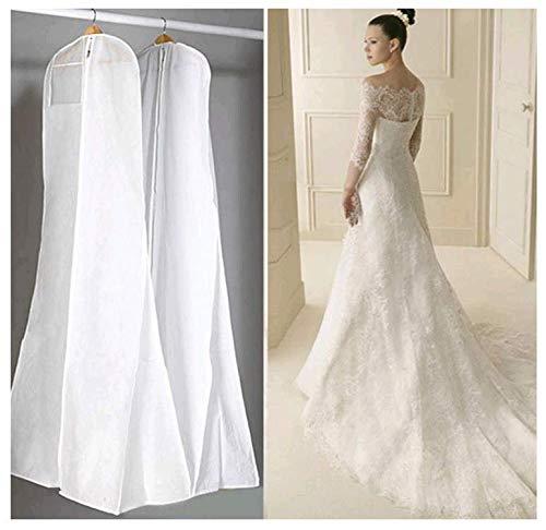 Prom-near Funda transpirable para vestido de novia, vestido de noche, trajes, abrigos, antipolvo, para vestido de boda, color blanco, 160/170/180 cm