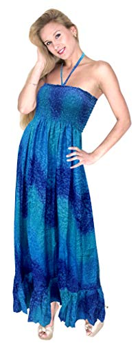 LA LEELA verdadera Gota de Lluvia Allover Vestido Largo Tubo Halter sin Mangas Impresa Azul