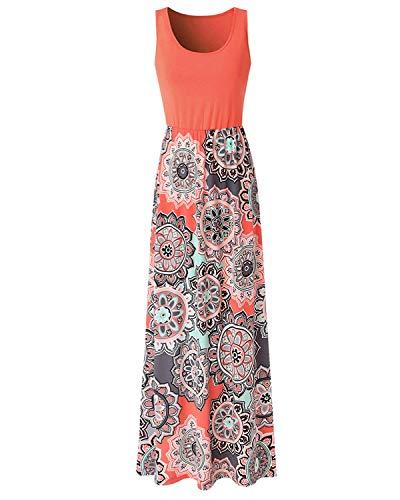 Abravo Mujer Vestido Casual Estampado Floral Bohemia Largo Vestido sin Mangas Verano Maxi Dress Playa,Naranja,L