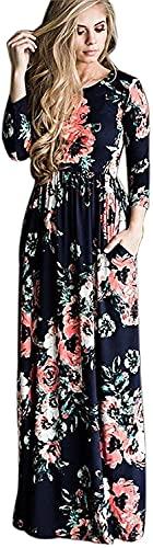 Vestidos Estampados Flores Mujer de Verano Cuello en V Manga 3/4 Cintura Alta con Cinturón Vintage Bohemio Hippie Chic Caftan Tunica Falda Wrap Vestido Imperio Largo para Playa Noche Ceremonia Fiesta