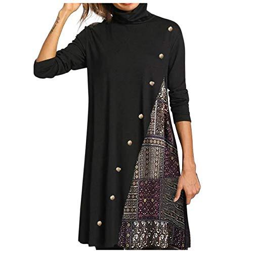 Mujeres más tamaño de Cuello Alto Color a Juego Vintage Casual Vestido otoño Invierno Moda Irregular Dobladillo de Manga Larga botón Vestido Suelto